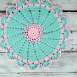 Lovely Crocheted Retro Style Aqua Pink Doily Table Topper - 10 1/2 inches