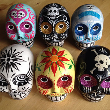 REDUCED! YOUR CHOICE! Hand Painted Ceramic Sugar Skulls Day of the Dead Dia de los Muertos Decor