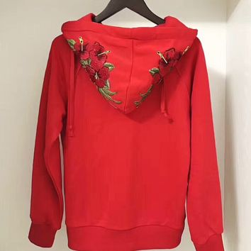 ''GUCCI'' Women Fashion Embroidery Rose Flower Top Sweater Pullover Hoodie
