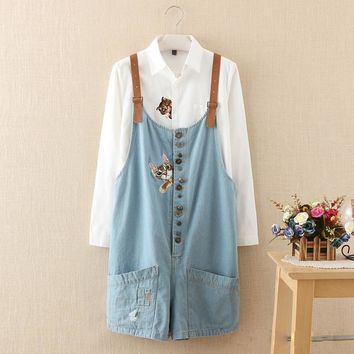 autumn winter new funny female  cats embroidery pattern denim jeans overalls women suspenders wide leg Bib boots short jumpsuit
