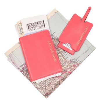 Luggage Tags - Wanderlust Pink Leather Passport Holder & Luggage Tag Set