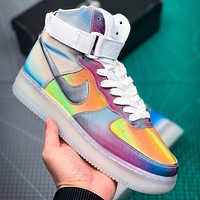 NIKE Air Air Force Fashion New Hook Laser Women Men Multicolor High Top Shoes