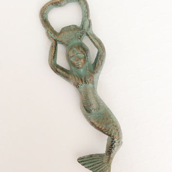 Mermaid, Bottle Opener, Iron Bottle Opener, Cast Iron Bottle Opener, Beer Bottle Opener, Patina, Mermaid Wedding Gift