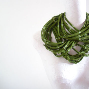 Upcycled Moss Green Infinity Scarf Necklace Spring Fashion Olive Green Circle Scarf White Yellow Stripes Repurposed Clothing