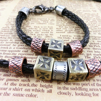 2-Pack Leather Bracelets and Necklace-  Wristband - Great For Men, Women, Teens, Boys, Girls 2598s