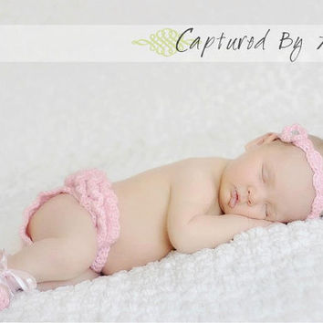 Crochet Newborn Baby Girl Ballerina Set: Headband, Ruffle Tutu Diaper Cover, Ballet Slippers, Photo Prop, Pink, Picture Prop