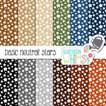 Neutral Star Digital Paper – scrapbook paper in grey, brown, tan, navy & olive - masculine digital paper - printable paper - commercial use