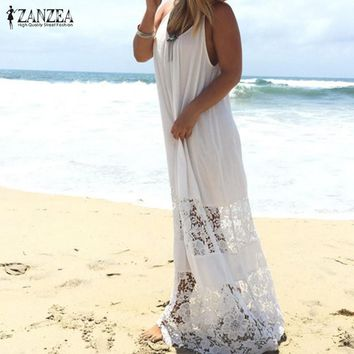 Summer Style Vestidos 2017 Women Lace Patchwork Casual Solid Loose Long Maxi Dress Sexy Strapless Beach Dresses Plus Size