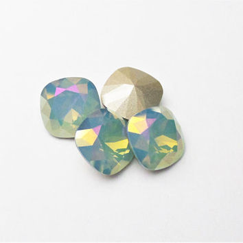 Two Air Blue Opal Lemon 4470 12mm Swarovski Cushion Cut Foiled Square Stone DKSJewelrydesigns