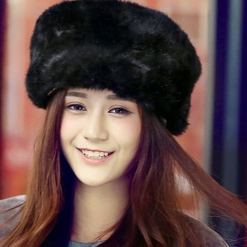 Women's Rabbit Fur Hat For Winter Genuine Leather Fur Tapper Hat With Fur Ear Protect Bomber Hats Russian Ushanka Caps