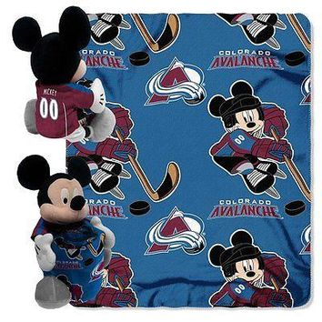 Colorado Avalanche NHL Mickey Mouse Throw and Hugger Pillow Set