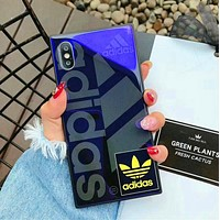 Adidas Popular Women Men Personality Blu-Ray Tempered Glass iPhone Phone Cover Case Iphone X phone Shell 7s Iphone 8plus All-Inclusive Shell