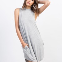 Flowy Mock Neck Day Dress