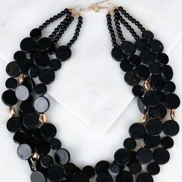 Multi Layered Beaded Necklace Black