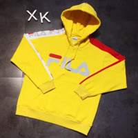 FILA New fashion bust letter print sleeve string mark print couple thick keep warm hooded long sleeve top sweater Yellow