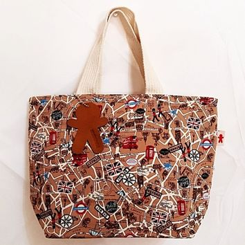 Pungman Cotton Tote Bag/Purse, Brown UK City Map