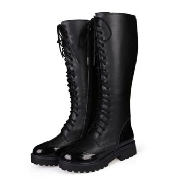Fashion Over the Knee High Martin Women Lace Up Type Boots Thigh High Knight Bootie Shoes Black