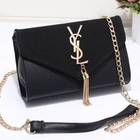 Black YSL Women Shopping Leather Metal Chain Crossbody Shoulder Bag