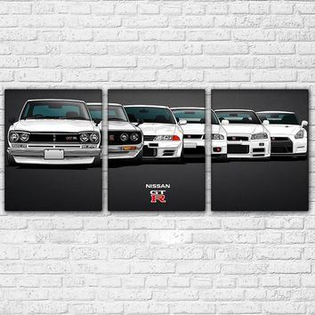 Nissan Skyline GT-R Sports Car History 3 Panel Wall Art Canvas Print Wall Picture