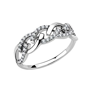 Linked To You - Women's High Polished Stainless Steel CZ Ring