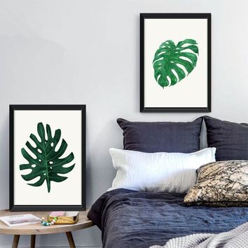 Green Leaf  Monstera, Plants Quote Modern Poster Canvas Art Prints Wall Pictures for Living Room