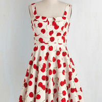 Fruits Mid-length Tank top (2 thick straps) Fit & Flare Pull Up a Cherry Dress in White