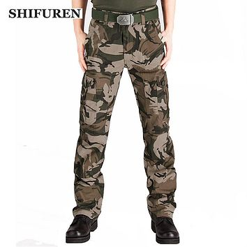 SHIFUREN Men Military Cargo Pants Camouflage Multi-pockets Full Length Casual Camo Overall Workwear Pants Plus Size 28-44