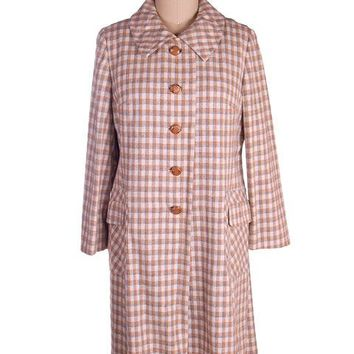 Vintage Ladies Spring Coat Late 1960s Plaid Gray Peach Flattering 44-44-48