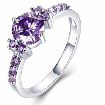 Silver Color Round Purple Crystal Wedding Rings