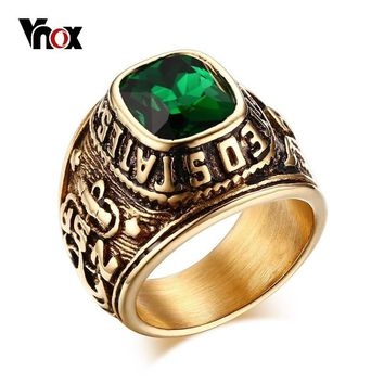 Vnox Chunky Eagle Casting Men Ring United States Navy Gold Color Stainless Steel Male Punk Rocky Jewelry