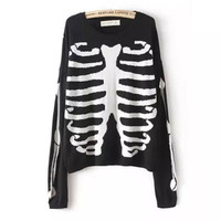 Black Skeleton Print Pullover Sweater
