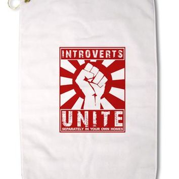 "Introverts Unite Funny Premium Cotton Golf Towel - 16"" x 25 by TooLoud"