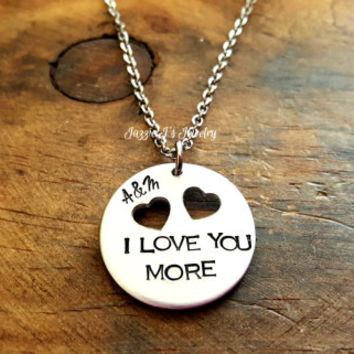 Hand Stamped Jewelry, I Love You More Necklace, I Love You Necklace, Personalized Necklace, Custom Necklace, I Love You Most, Gift for Her