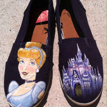 Disney Princess Cinderella Custom hand painted acrylic canvas Shoes