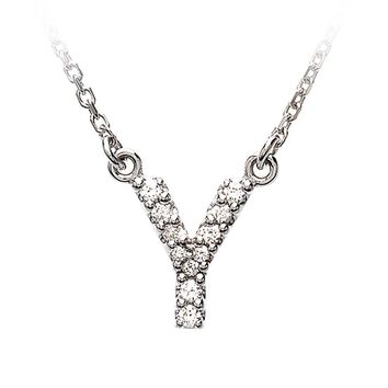 1/10 Cttw Diamond & 14k White Gold Block Initial Necklace, Letter Y