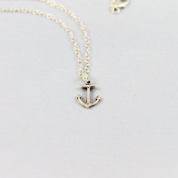 Anchor necklace sterling small minimalist simple sterling chain modern nautical style