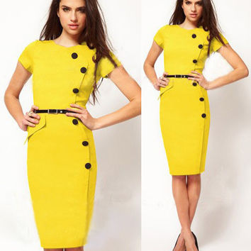 Yellow Wrap Button Short Sleeves Midi Pencil Dress