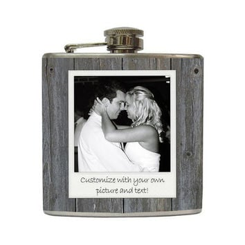 Custom Polaroid Photo Flask Vintage Black and White Polaroid on Grey Barn Wood Stainless Steel 6 oz Liquor Hip Flask