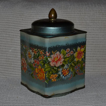 Vintage Floral Tin Teal w/ Shabby Floral Design Iridescent Teal Murray Allan Regal Crown Confectioners