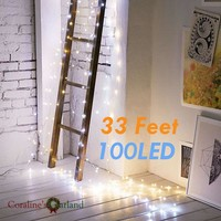 10M 100 led Battery Operated string lights Copper Wire Fairy Lights string for Party Holiday Christmas Decoration