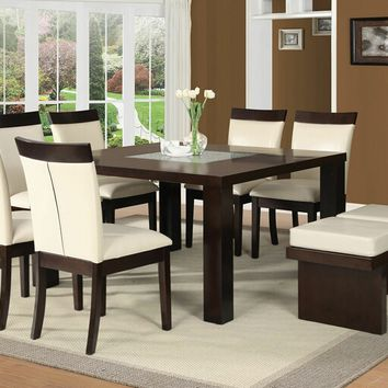Acme 71035-38-39 8 pc eastfall espresso finish wood dining table set with white faux leather upholstered chairs