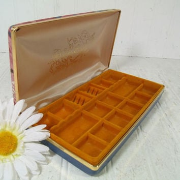 Vintage Pinks and Blues Vinyl Clam Shell Travel Jewelry Case with Buff Satin & Gold Velveteen Lining - Mele Style Floral Design Jewelry Box