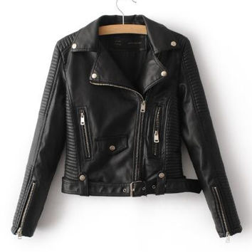 Women's Faux Leather Motorcycle Jacket with Zippers