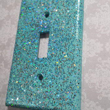 Light Aqua w/ Holographic Blue & Silver Opal Glitter ~ Bling Light Switch Plates, Outlet Covers ~Great Gift ~Ocean Beach Mermaid Theme Decor