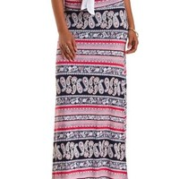 Multi Paisley Print Double Slit Maxi Skirt by Charlotte Russe