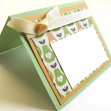 Thanksgiving Place Card Handmade Thanksgiving Table Fall Colors Place Card Table Décor Celery Green and Deep Yellow Cream Ribbon Fall Finds