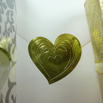 "500pk Gold Embossed Heart 1 1/2"" x 1 3/8"" Wedding Love Stickers"
