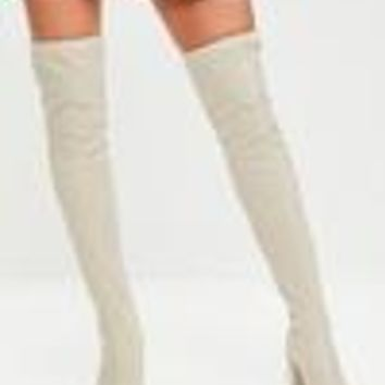 Missguided - Cream Neoprene Over The Knee Boots
