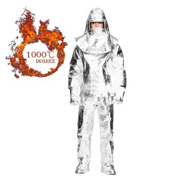 Webetop Aluminum Foil Heat Resistant Thermal Radiation 1000 Degree Centigrade Fire-proof Suit,Include 1 Coat,1 Pant,1 Helmet,1 Glove,1 Boot Cover,EC/CCS Approval,XL