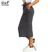 Navy and White Drawstring Striped Twin Pockets Slim Pencil Vintage Skirts Spring/Summer Style Skirt
